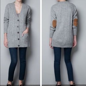 Zara Knit Gray Cable Knit Cardigan Elbow Patches